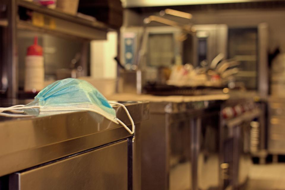 Professional kitchen with surgical masks