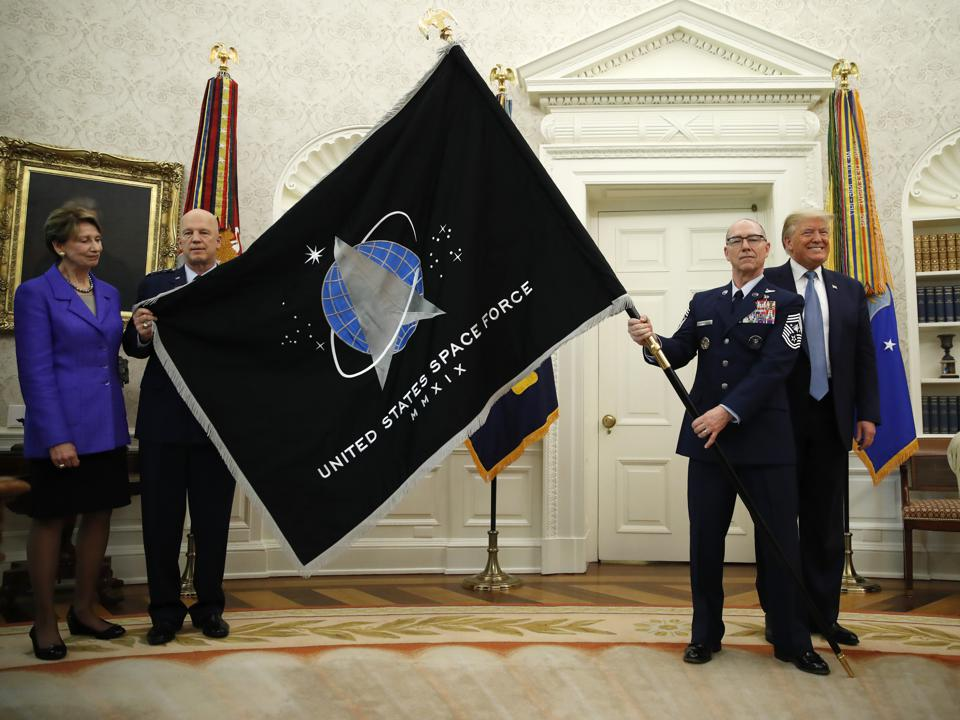 President Trump at the unveiling of the Space Force Flag.