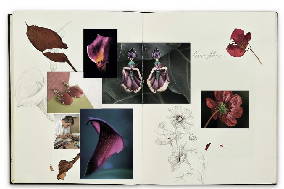 Recreated spread from Silvia Furmanovich's botanical sketchbook