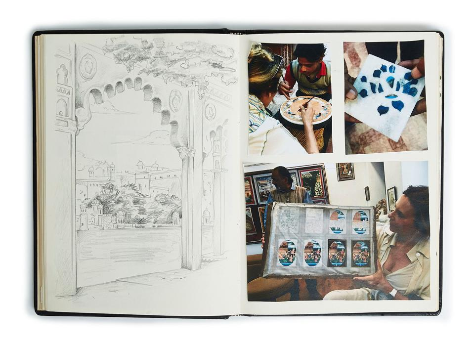 Recreated spread from Silvia Furmanovich's India travel journal