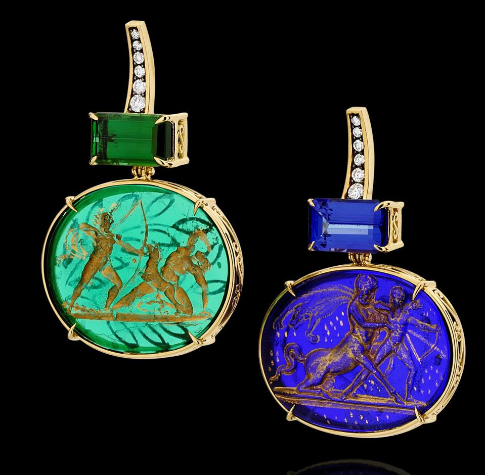 Earrings in 18k gold with diamond, tanzanite, green tourmaline and antique murano glass