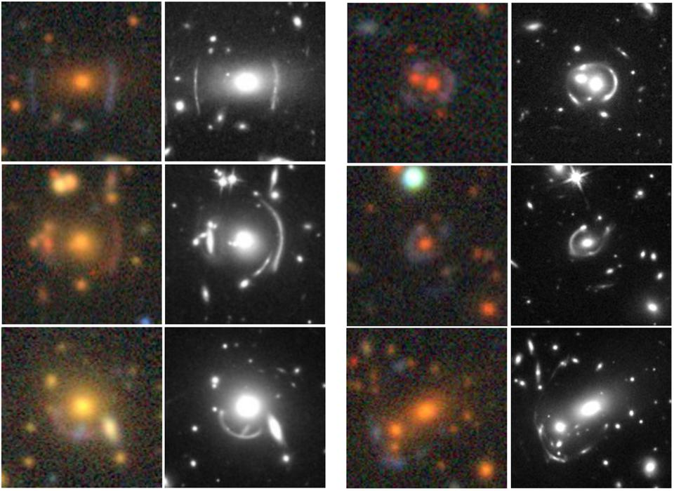 Side-by-side comparison of gravitational lenses with DESI and Hubble.