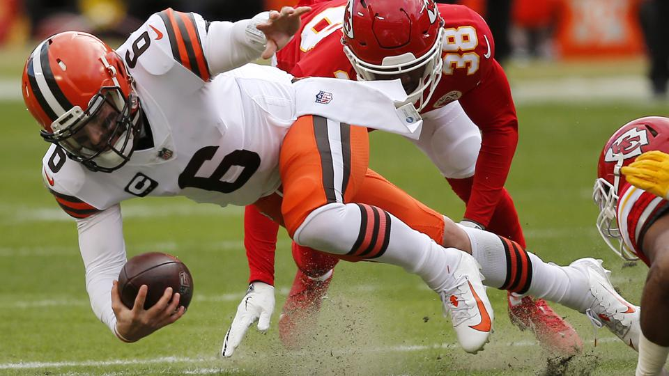 Baker Mayfield during the Cleveland Browns' playoff game against the Kansas City Chiefs