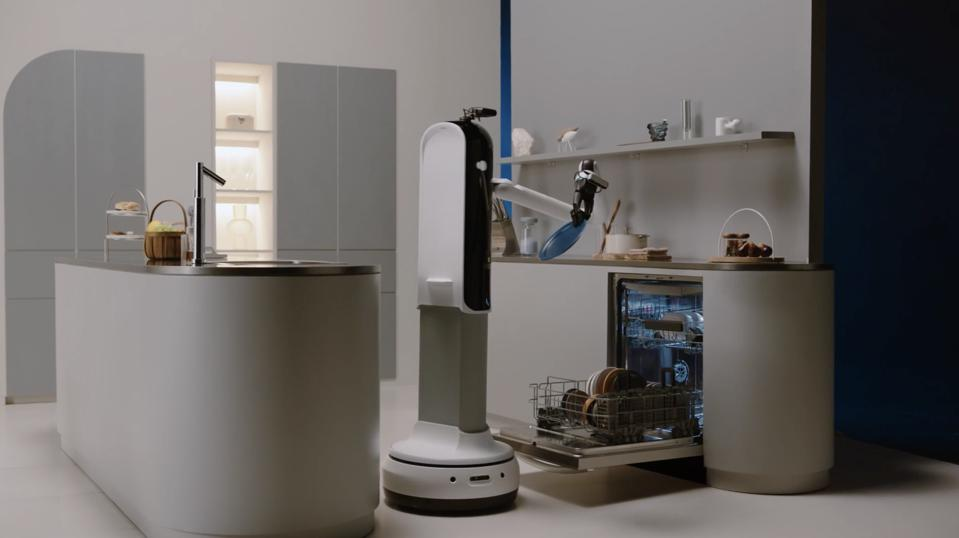 Robot putting dishes into dishwasher