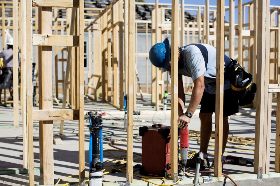 Construction At The DR Horton Inc. Magma Ranch Development As Housing Starts Figures Are Released