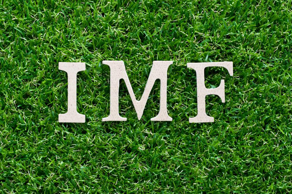 Wood alphabet in word IMF (abbreviation of International Monetary Fund) on artificial green grass background