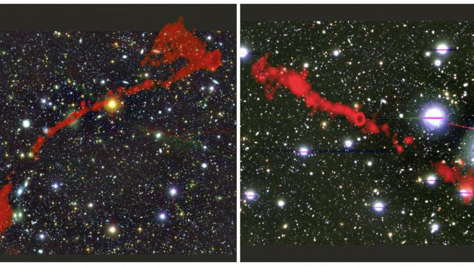 The two giant radio galaxies found with the MeerKAT telescope. In the background is the sky as seen in optical light. Overlaid in red is the radio light from the enormous radio galaxies, as seen by MeerKAT. Left: MGTC J095959.63+024608.6. Right: MGTC J100016.84+015133.0.