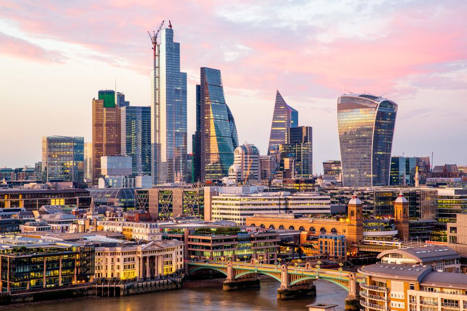 High angle view of skyscrapers in City of London at sunset, Endland, UK