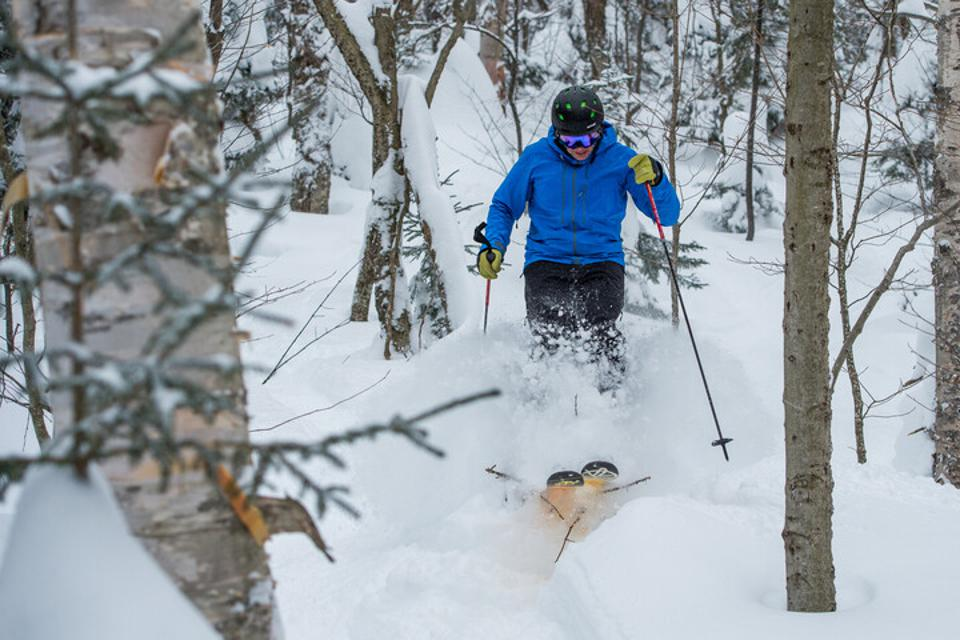 A skier going through the woods at Mount Snow Ski Resort.
