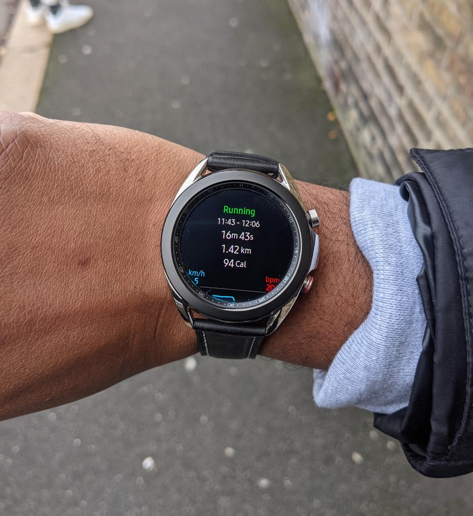 Running with the Galaxy Watch 3.