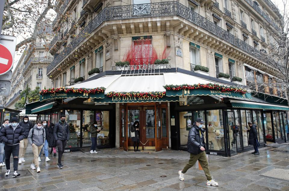 Teddy Bears Replace Customers At Renowned Cafe Les Deux Magots At the Saint-Germain-des-Pres In Paris