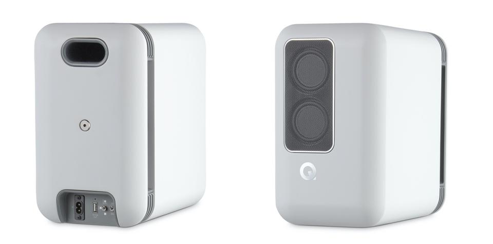 Front and back view of Q Active A200 speakers in white