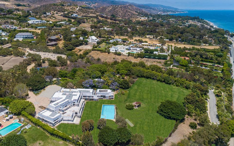 An aerial view of a Malibu compound.