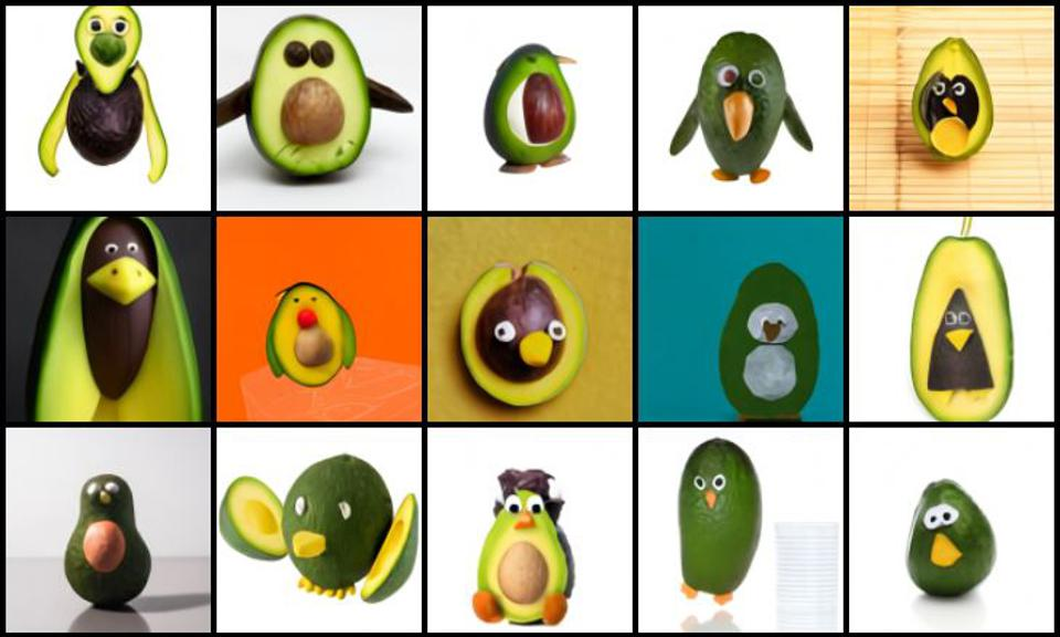 Penguins made of avocado