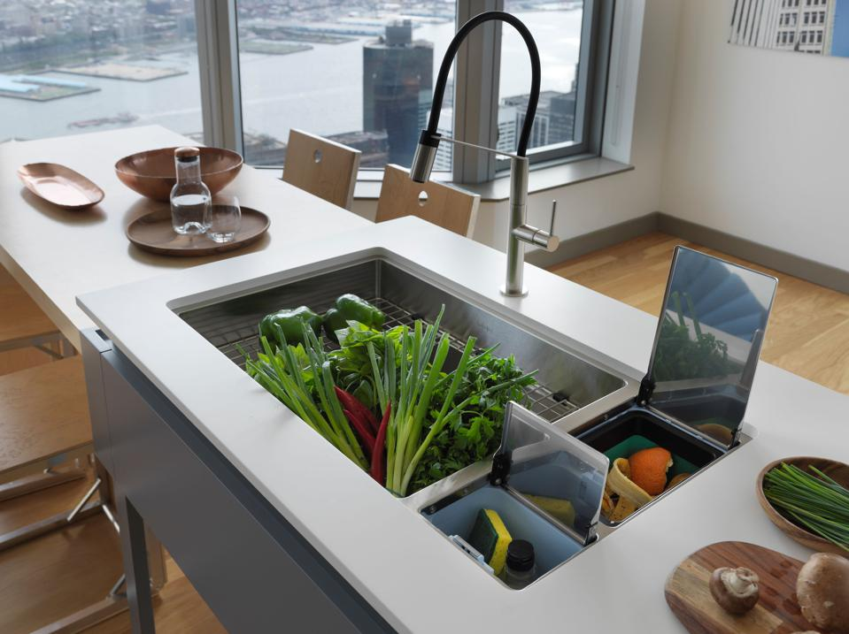 Kitchen with pro-style chef sink.