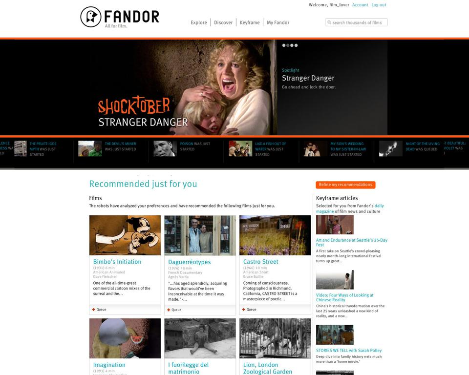 screen capture of interface for Fandor film-streaming service