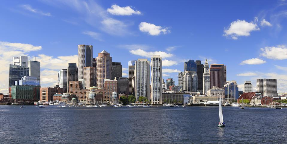 Boston skyline with sailboat on the foreground, Massachusetts, USA