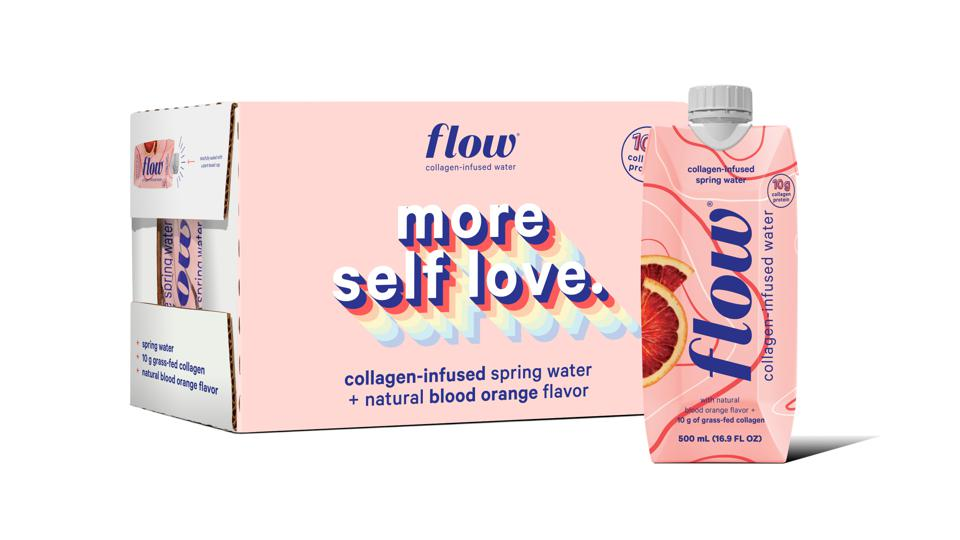 A pink box of Flow collagen-infused water displayed behind a cardboard bottle of Flow.