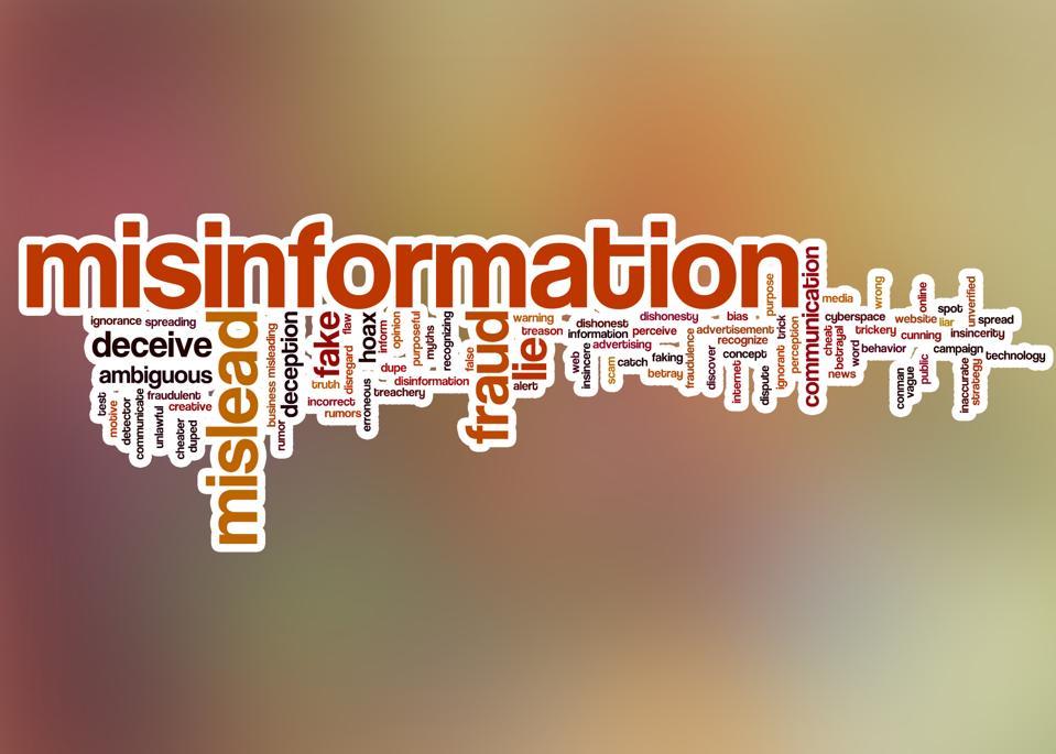 Misinformation word cloud