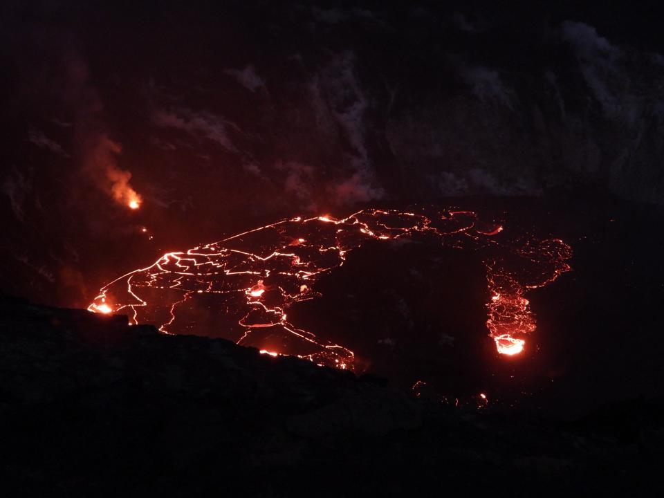 Lava pools atop Kīlauea volcano.
