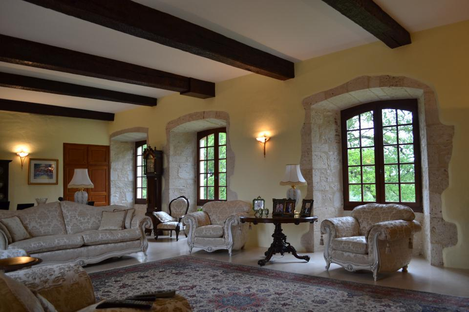 The great room inside a French chateau.