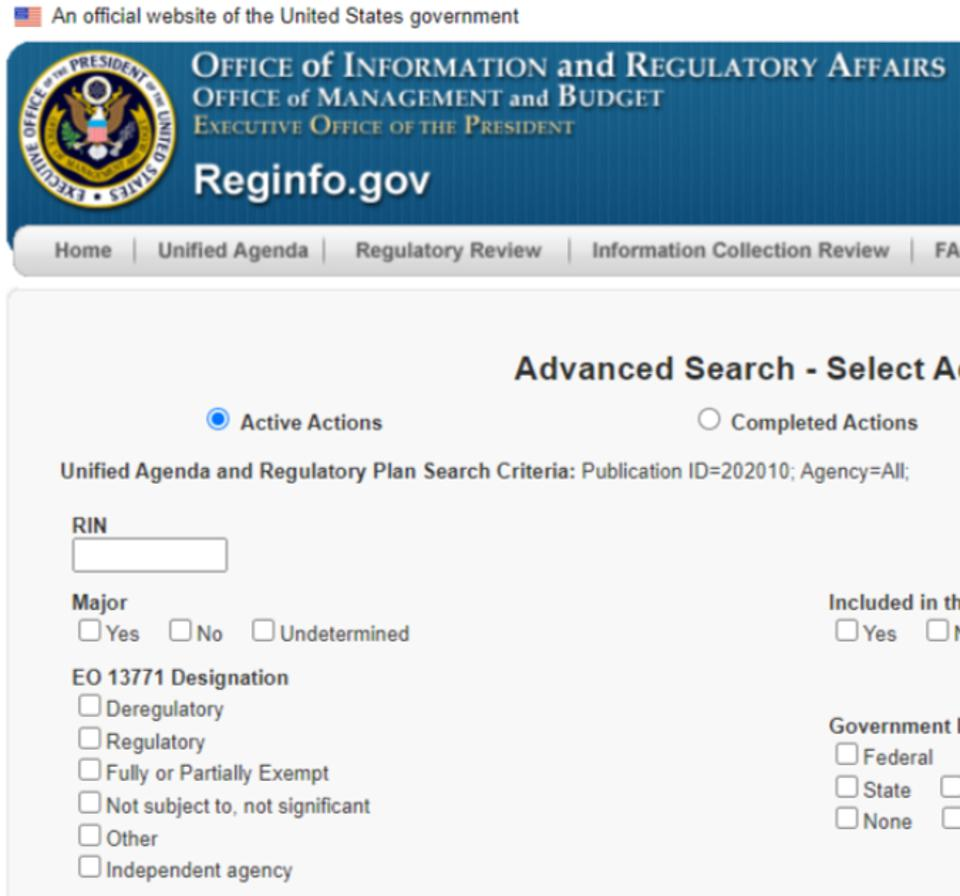 Screen capture of EO 13,771 ″Deregulatory″ designation option for federal rules and regulations.