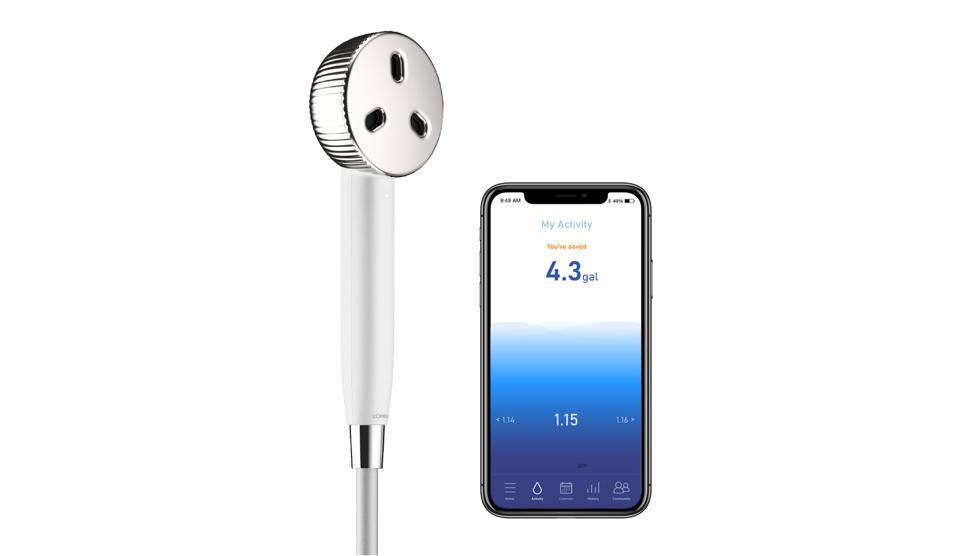 The sleek L'Oréal's Water Saver for home use, which will be launched in the next 18 months, consists of a silver-tone shower head and iPhone app.