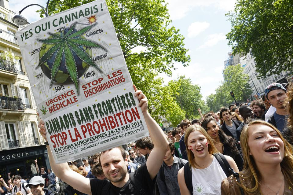 Protesters march for the legalization of cannabis and medical marijuana which has been illegal in France since 1970.
