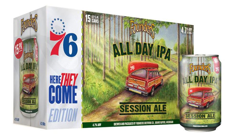 A case of Founders All Day IPA beer co-branded with the Philadelphia 76ers logo.