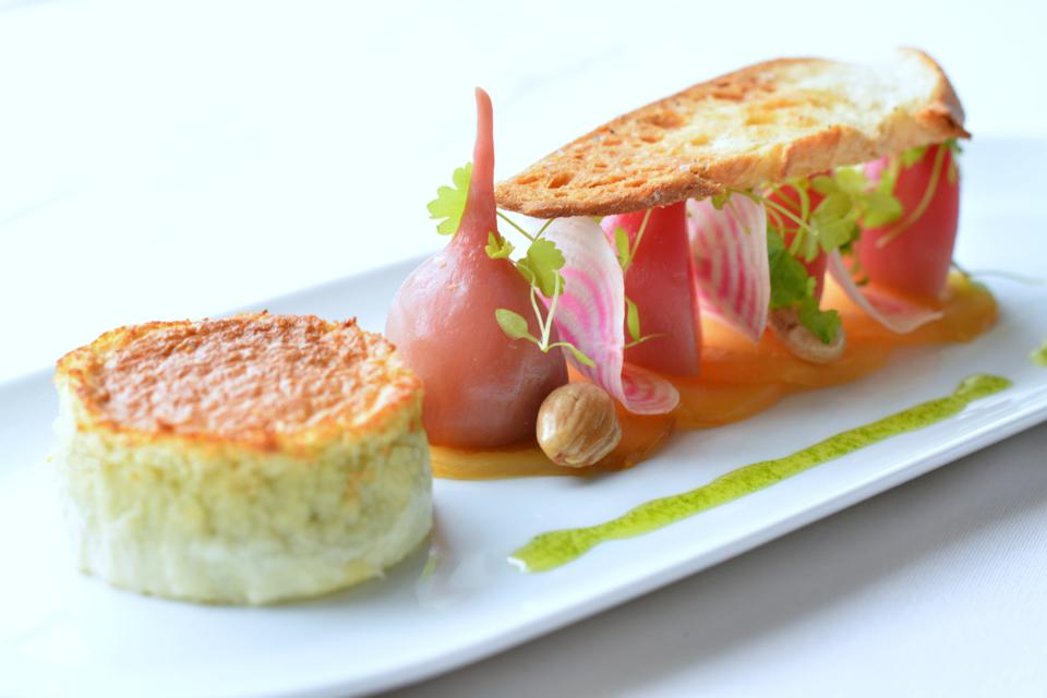 Delicious Blue Cheese Souffle served at The Otesaga Resort Hotel