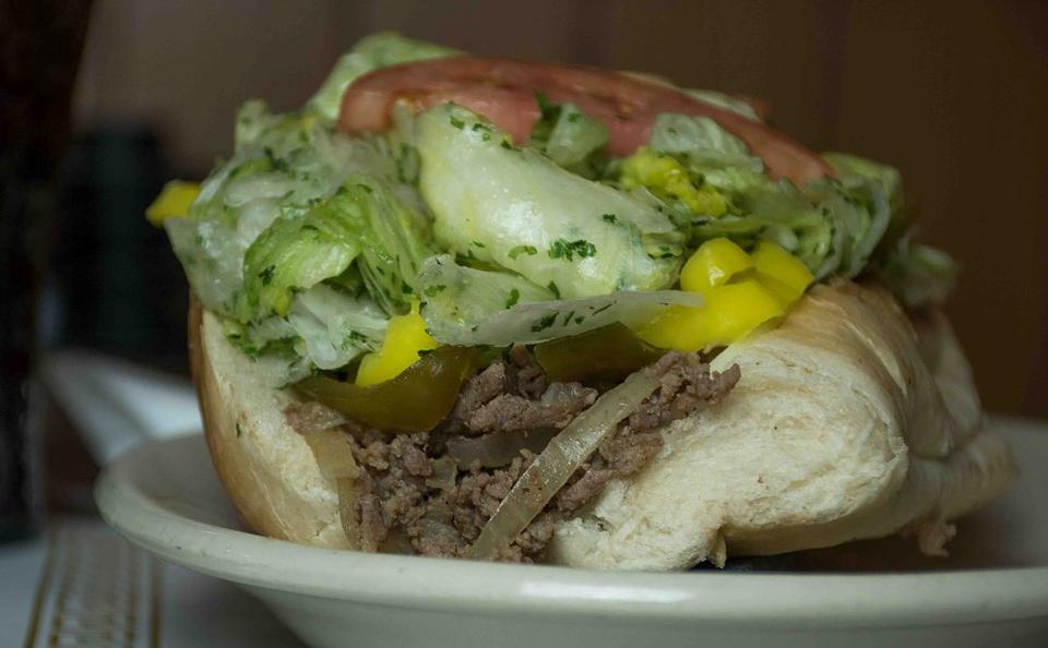 Close-up of a Cheesesteak Sub served at D'Atri's Restaurant in Cumberland and LaVale, Maryland.