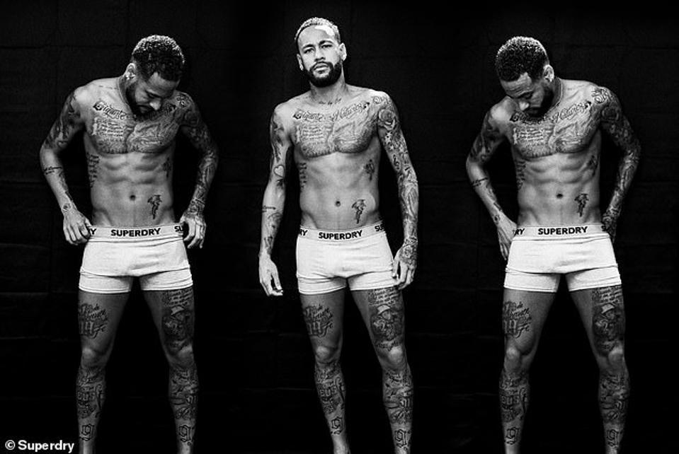 Footballer Neymar Jr wearing organic underwear.
