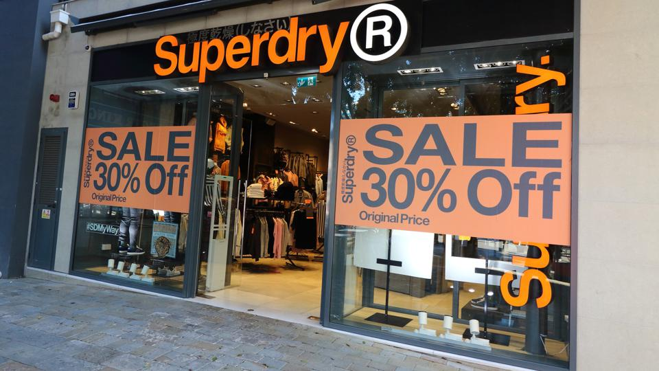 Superdry store front in Main Street, Gibraltar.