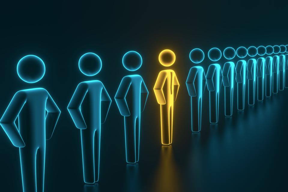 Selection and search for a top employee or client. 3D rendering