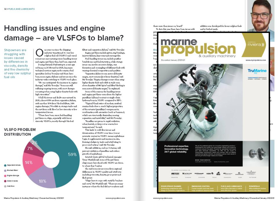 Industry publication Marine Propulsion's January 2021 edition reveals that ship engine issues have spiked over 50% in 2020 over previous years due to the introduction of VLSFO