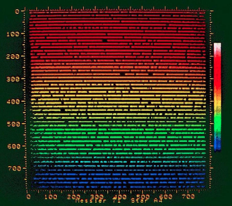 Echelle spectrum as it would have shown in the display of the Hamilton Spectrograph.