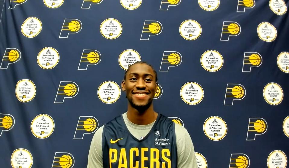 Indiana Pacers guard Caris LeVert during his introductory press conference.