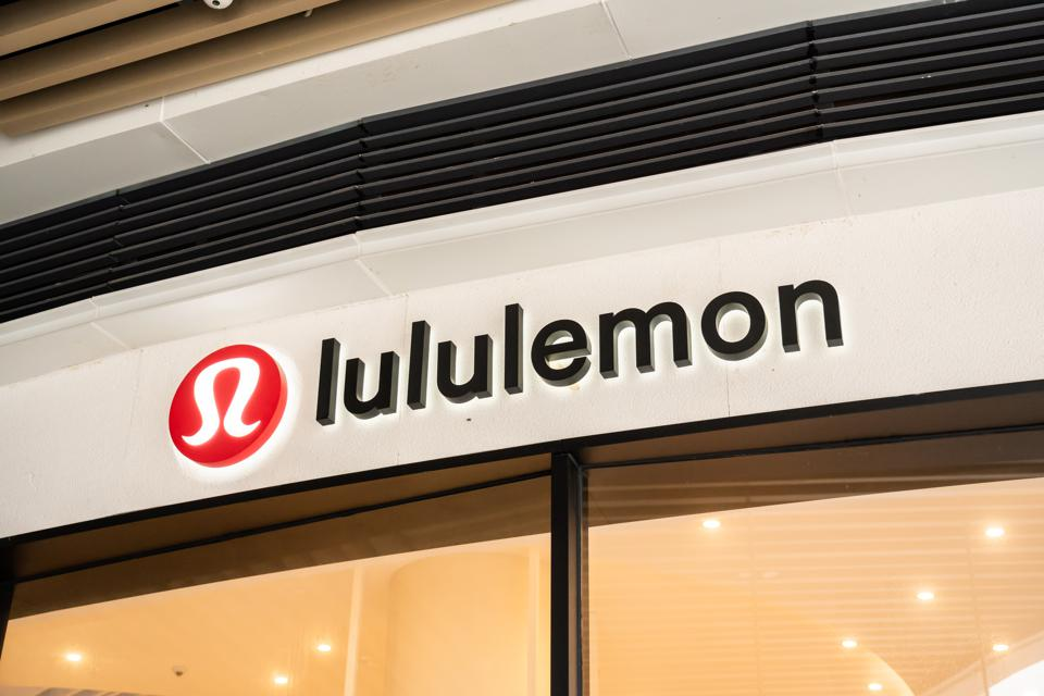 Canadian athletic apparel retailer, Lululemon logo seen at a...