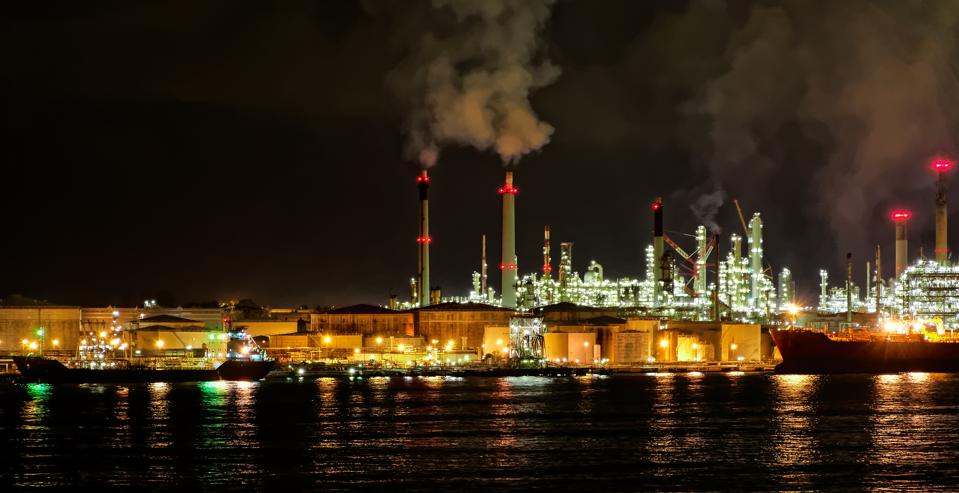 Petro-chemical refinery plant in Singapore.  Environmental groups have called for fuel suppliers to show greater transparency about the chemicals used in VLSFO fuels.