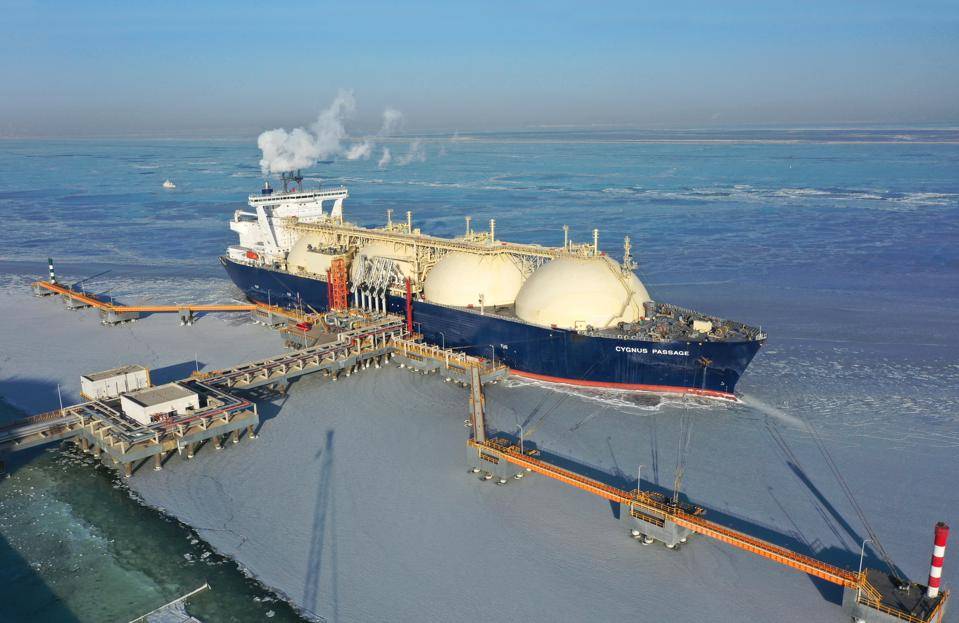 The liquefied natural gas (LNG) cargo ship 'Cygnus Passage' from Russia is berthed at a liquefied natural gas (LNG) terminal