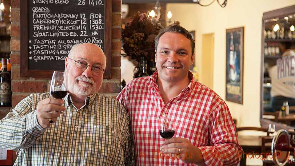 Giorgio and George Dalla Cia in the winery restaurant in Stellenbosch, South Africa
