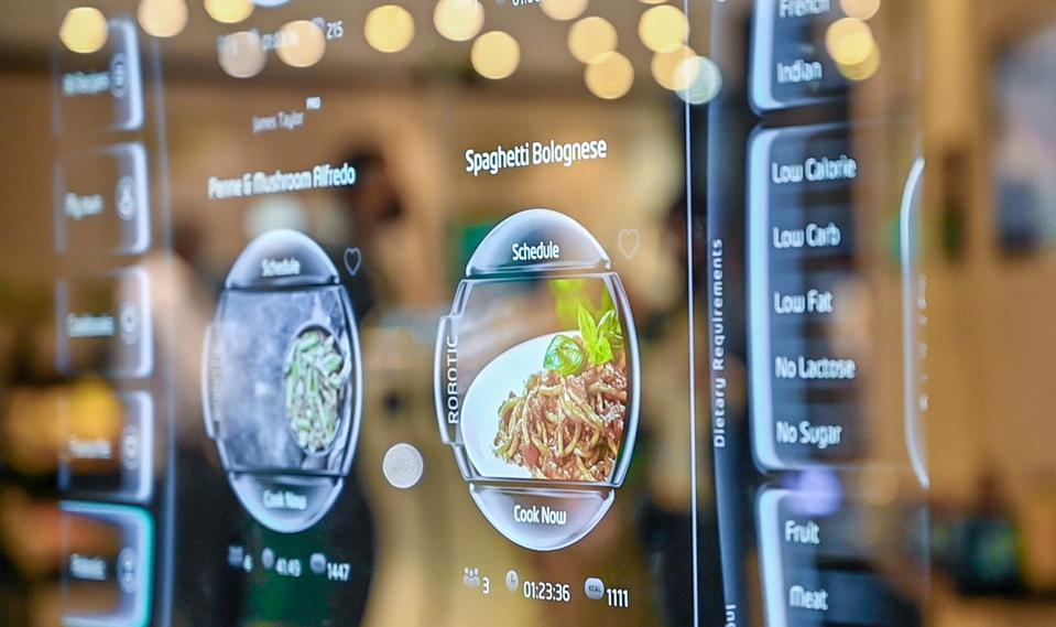 Digital screen with recipes for the robotic kitchen to cook.