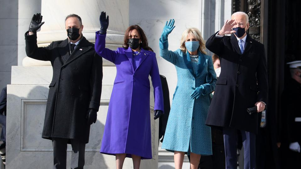 Joe Biden, Jill Biden, Kamala Harris, Doug Enhoff wave before Inauguration