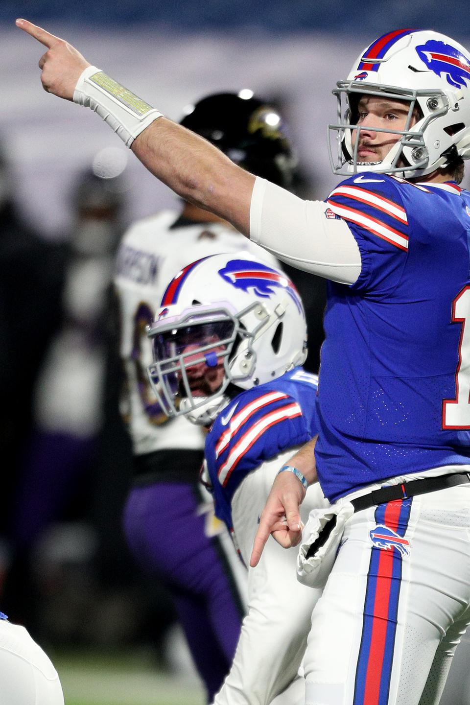 Josh Allen of the Buffalo Bills signals during the game against the Baltimore Ravens.