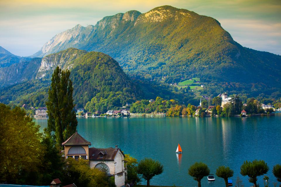Annecy Lake with sailboat