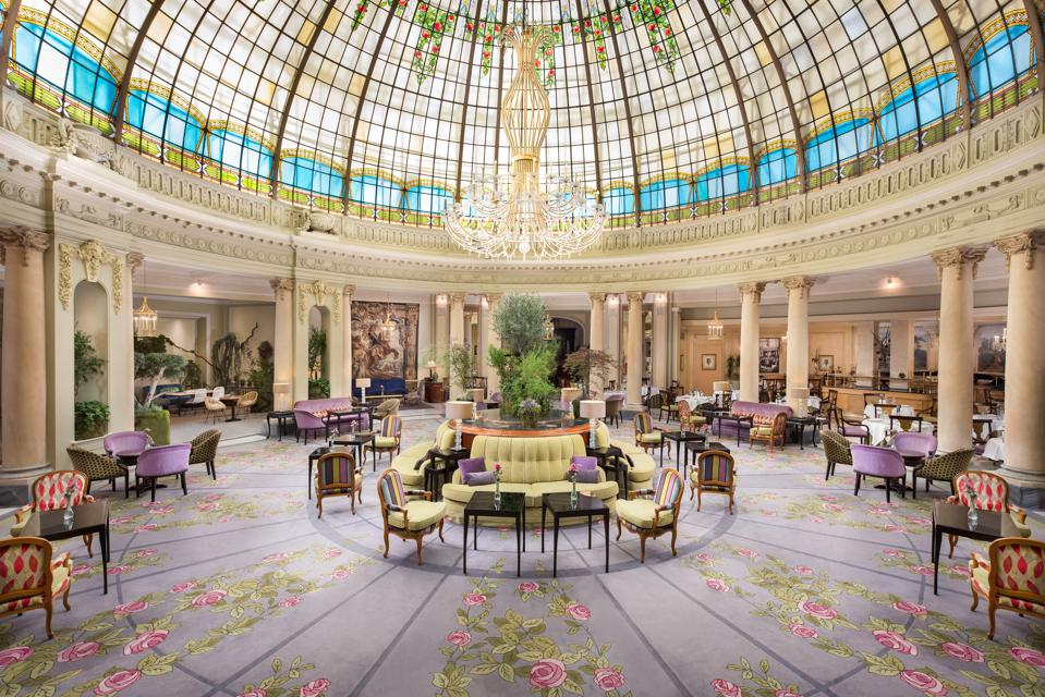 Rotunda restaurant and stained-glass Art Nouveau dome Westin Palace hotel, Madrid