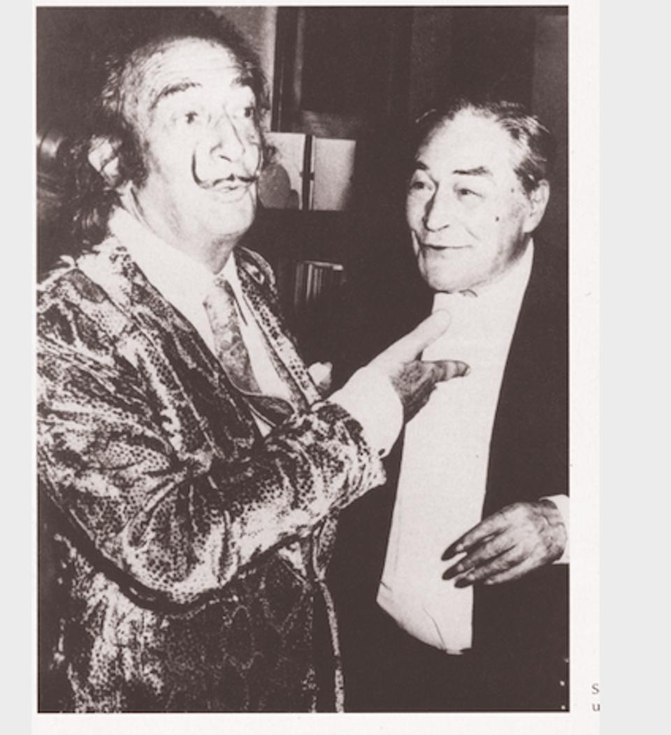 Black and white image Salvador Dalí at the Palace hotel with Spanish journalist Josep Pla