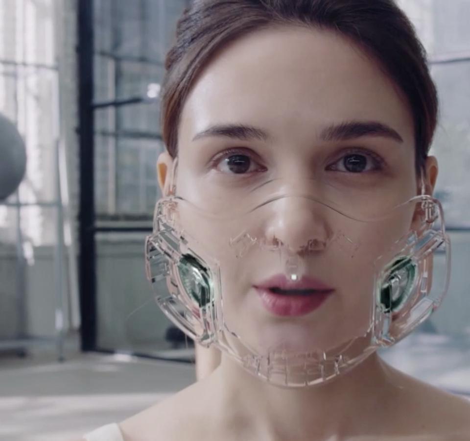 Woman wearing clear mask