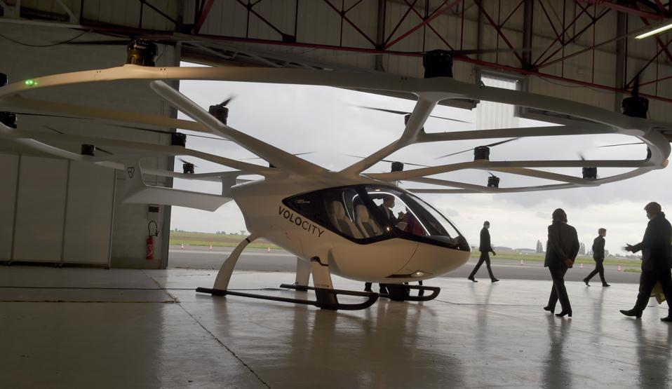 A Volocopter unmanned air taxi transport will start operating in Paris in summer 2020