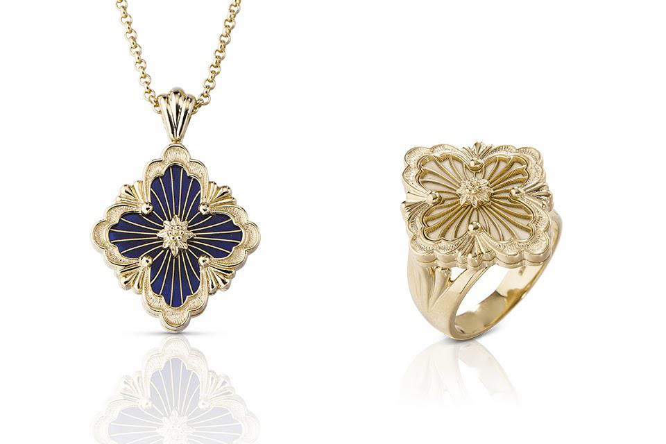 Opera Tulle pendant in yellow gold and blue enamel $3,500, Opera Tulle ring in yellow gold and mother of pearl $3,700